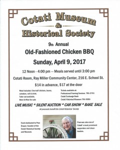 flyer for Old-Fashioned Chicken BBQ Sunday, April 9, 2017 noon-4pm