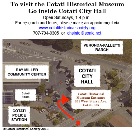 Aerial view of the Cotati Historical Museum